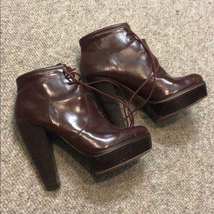 Ankle booties eggplant color Zara trafaluc